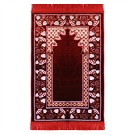 Muslim Prayer Rug Mat Red and White with Tassels
