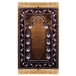 Muslim Prayer Rug Mat Brown and White with Tassels