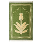 Muslim Prayer Rug Mat Green and Gold with Tassels