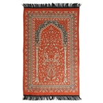 Orange Prayer Rug with Archway Design and Black Tassels