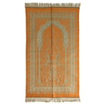 Orange Prayer Rug with Archway Design and Tan Tassels
