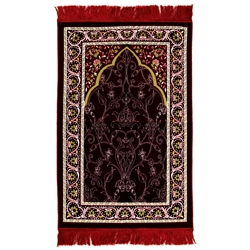 Burgundy Red Suede Prayer Rug with White Archway Design and Red Tassels