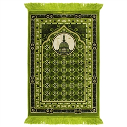 Lime Green Suede Prayer Rug with Minaret Archway Design and Green Tassels