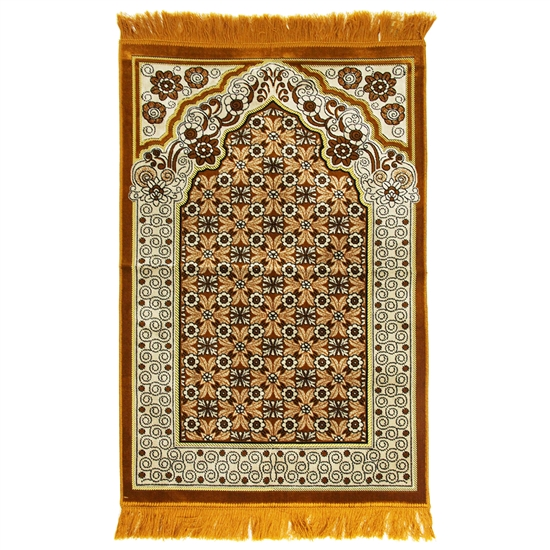 Orange Suede Prayer Rug with White Floral Archway Design and Orange Tassels
