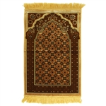 Tan Suede Prayer Rug with Brown Archway Design and Tan Tassels