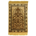 Tan Suede Prayer Rug with Brown Floral Archway Design and Tan Tassels