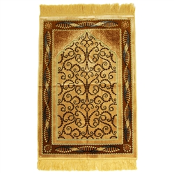 Tan Suede Prayer Rug with Brown Foliage Archway Design and Tan Tassels