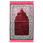 Muslim Prayer Rug 3.6' x 2.3' Red Green and White Color Floral Design with Tassels