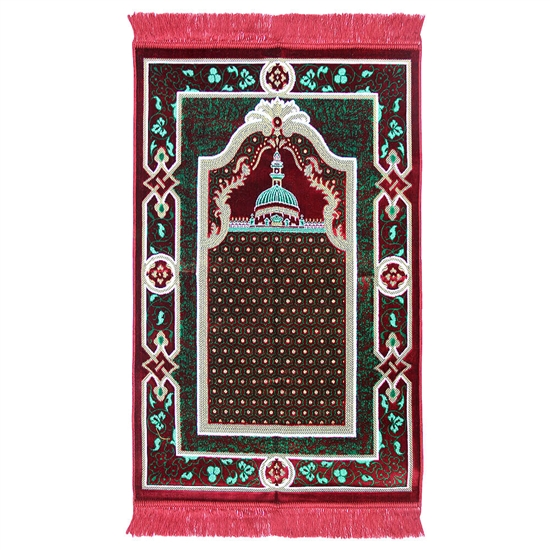 Muslim Prayer Rug 3.6' x 2.3' Red Green and Tan Color Floral Design with Tassels