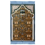 Muslim Prayer Rug Blue Orange White Color Tassels