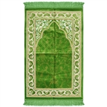 Muslim Prayer Rug 3.6' x 2.3' Green Yellow and White Color with Tassels