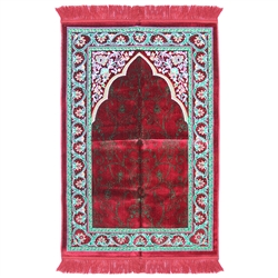 Prayer Rug 3.6' x 2.3' Red Green White Tassels