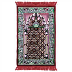 Prayer Rug 3.6' x 2.3' Red White Green Tassels