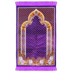 Muslim Prayer Rug 3.6' x 2.3' Purple Orange and White Color Floral Design with Tassels