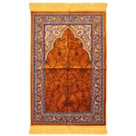 Prayer Rug 3.6' x 2.3' Orange Black Purple Tassels
