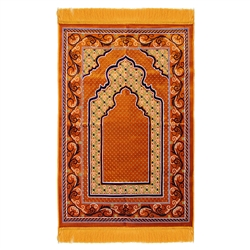 Prayer Rug 3.6' x 2.3' Orange White Black Tassels