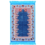 Prayer Rug 3.6' x 2.3' Blue Red Light Blue Tassels