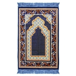 Prayer Rug 3.6' x 2.3' Blue Orange Yellow Tassels