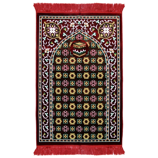 Muslim Prayer Rug 3.6' x 2.3' Green Yellow White Color with Red Tassels