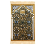 Muslim Prayer Rug 3.6' x 2.3' Blue Tan White Color with Tassels