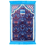 Muslim Prayer Rug 3.6' x 2.3' Blue Burgundy White Color with Tassels