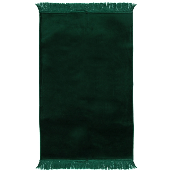 Muslim Prayer Rug 3.6' x 2.3' Solid Plain Dark Green Color with Tassels