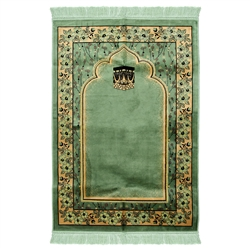 Muslim Prayer Rug 4' x 2.6' Green Tan and Black Color Flower Design with Tassels