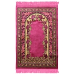Muslim Prayer Rug 4' x 2.6' Pink and Tan Color Floral Design with Tassels