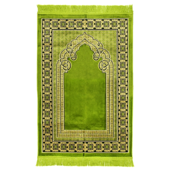 Muslim Prayer Rug 4' x 2.6' Green Tan and Black Color with Tassels