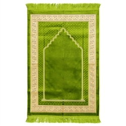 Muslim Prayer Rug 4' x 2.6' Green and Tan Color with Tassels