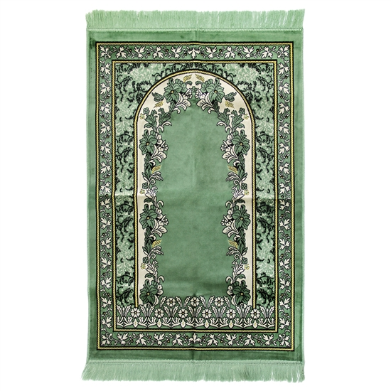 Muslim Prayer Rug Green and White with Tassels