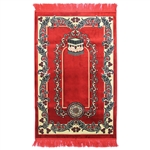 Muslim Prayer Rug Red Tan and Black with Tassels