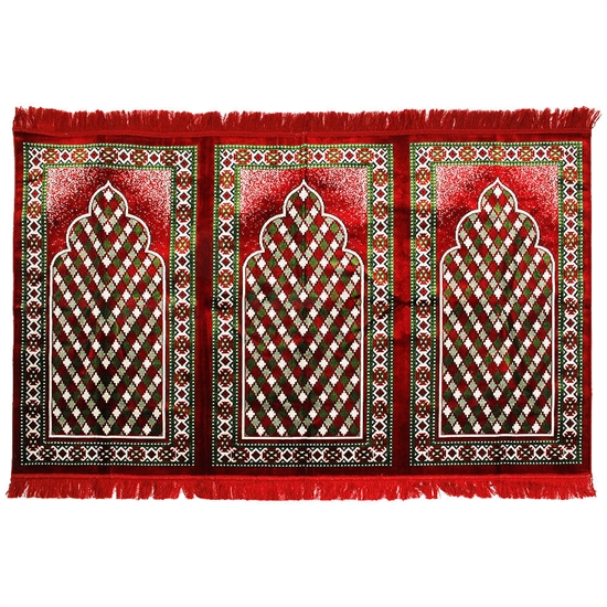 Three Person Red and Green Diamond Design Prayer Rug with Red Tassles