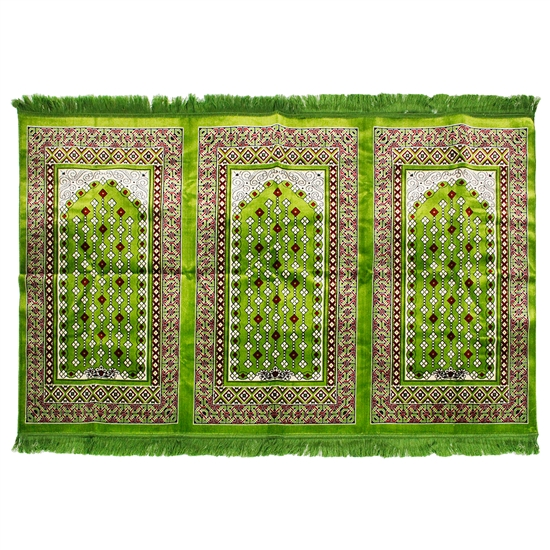 Three Person Green Diamond Archway Design Prayer Rug with Green Tassles