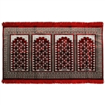 Four Person Red and Green Diamond Prayer Rug