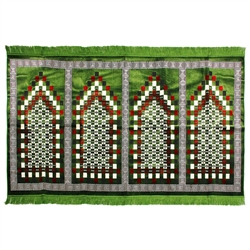 Four Person Green Greek Key and Square Prayer Rug