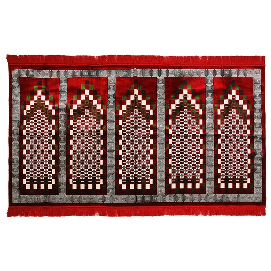 Five Person Red Greek Key and Square Prayer Rug