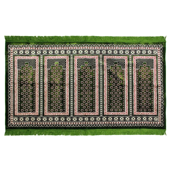 Five Person Dark Green Pillar Archway Prayer Rug