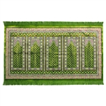 Five Person Lime Green Double Greek Key Design Prayer Rug with Green Tassles