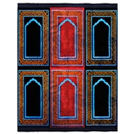 Six Person Navy Blue and Pink Double Layer Prayer Rug with Neon Outlines