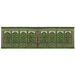 Eight Person Forest Green Diamond Archway Design Prayer Rug with Green Tassles