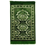 Forest Green Single Prayer Mat Floral Leaf Border with Lime Green Tassles