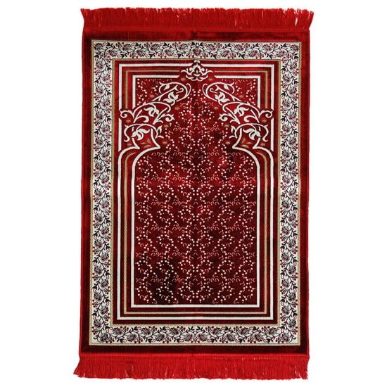Red Single Prayer Mat with Floral Archway Border Design with Red Tassles