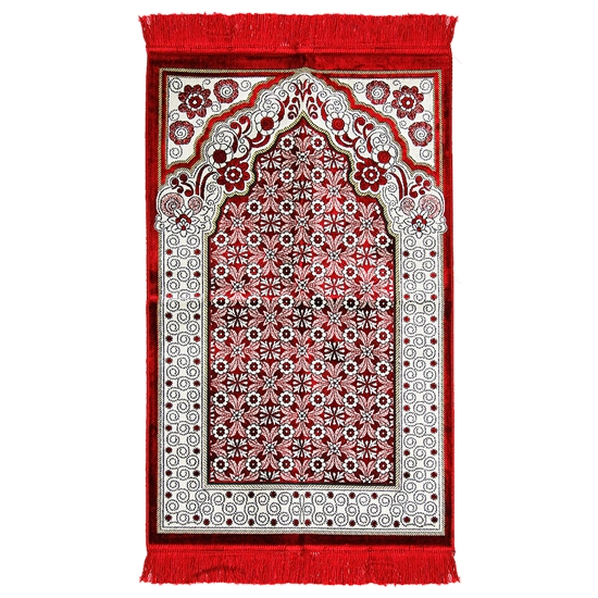 Red Single Prayer Mat with Italian Style Design Archway and Red Tassles