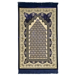 Blue Single Prayer Mat with Tan Lotus Border with Archway and Blue Tassles