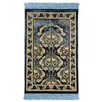 Blue Authentic Turkish Prayer Mat  Floral Leaf Border with Light Blue Tassles