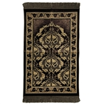 Brown Authentic Turkish Prayer Mat Floral Leaf Border with Brown Tassles