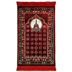 Red Masjid An-Nabawi Turkish Prayer Mat with Archway Design and Red Tassles
