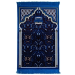 Blue Kaaba Image Turkish Prayer Rug With Floral Archway Design and Blue Tassles