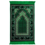 Green Suede Authentic Turkish Prayer Rug with Floral Deisgn and Green Tassles